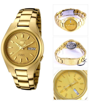 Seiko 5 Classic Mens Size Gold Dial & Plated Stainless Steel Strap Watch SNK610K1 - Diligence1International