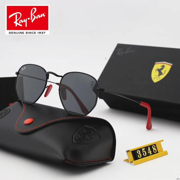 Ray Ban RB3548 Hexagonal Scuderia Ferrari Collection -  Black Frame & Black Lenses with Red Temple Tips _mxm_store_exclusive_brands