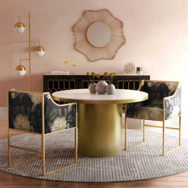 Atara Floral Velvet Gold Chair