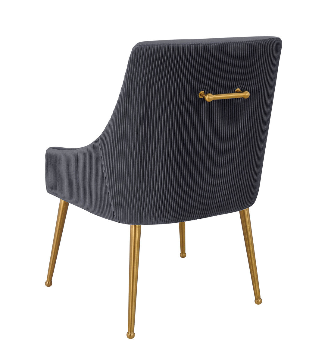 BEATRIX PLEATED  GREY VELVET SIDE CHAIR