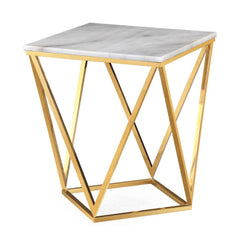 NICOLAS WHITE MARBLE SIDE TABLE