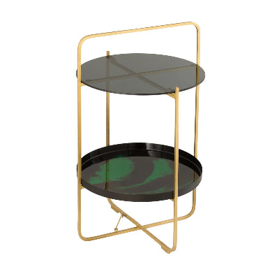 Enamel Black and Green Side Table
