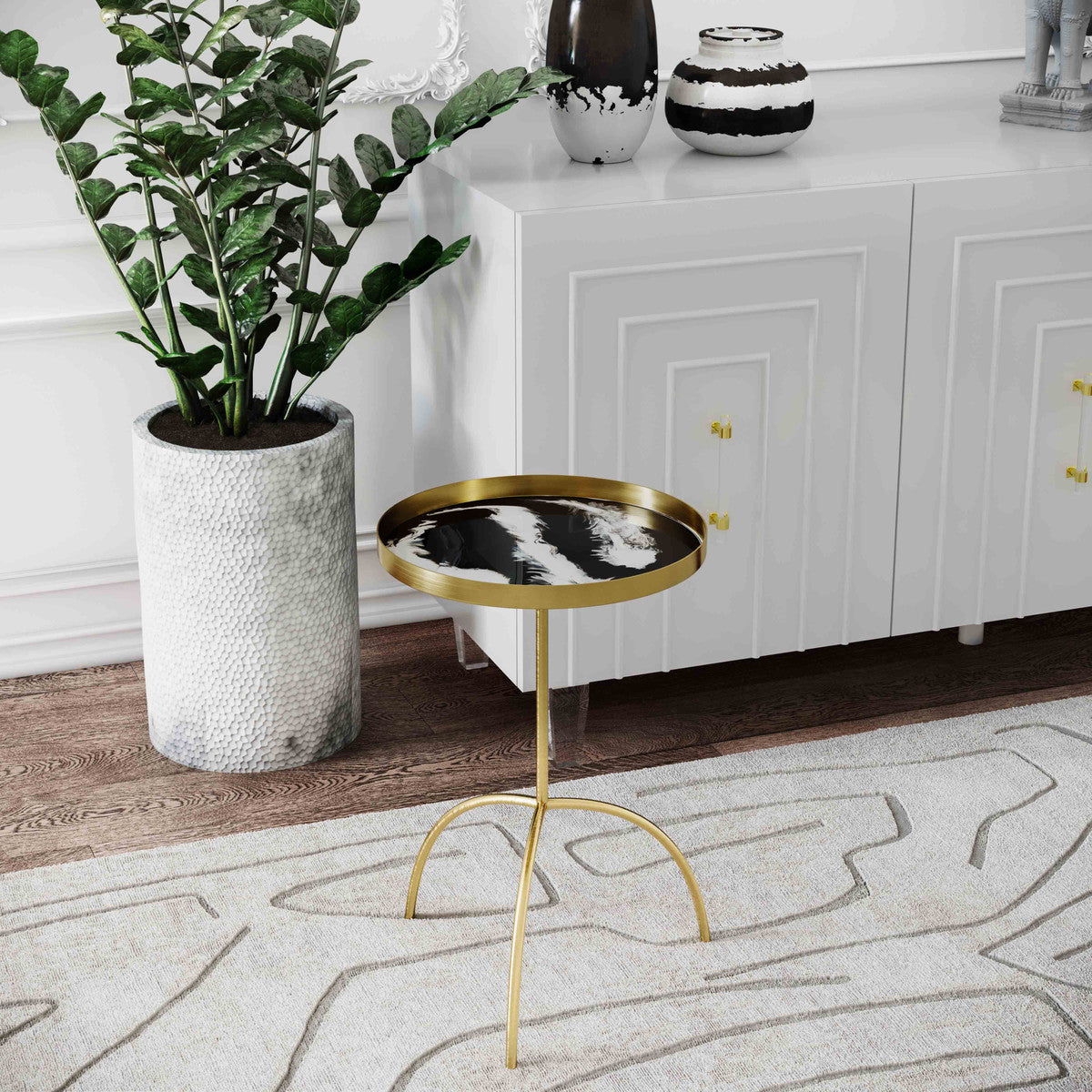 Enamel Black and White Accent Table