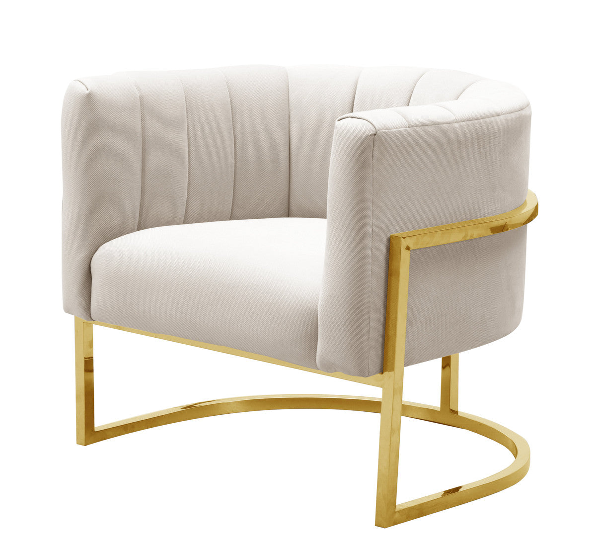 CORAL SPOTTED CREAM CHAIR WHITH GOLD BASE.