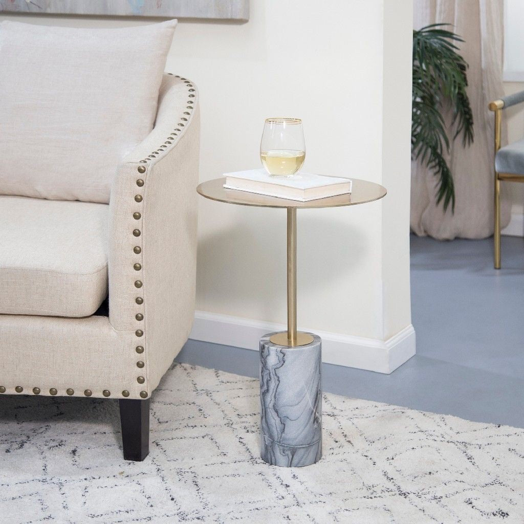round marble base table gold/black