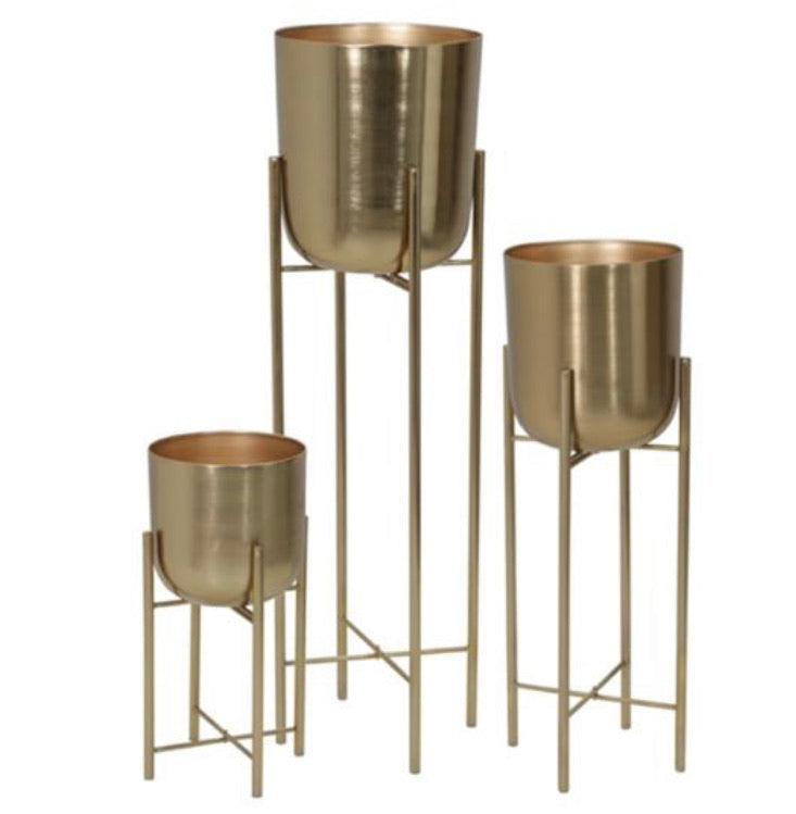 Metal gold planters set 3