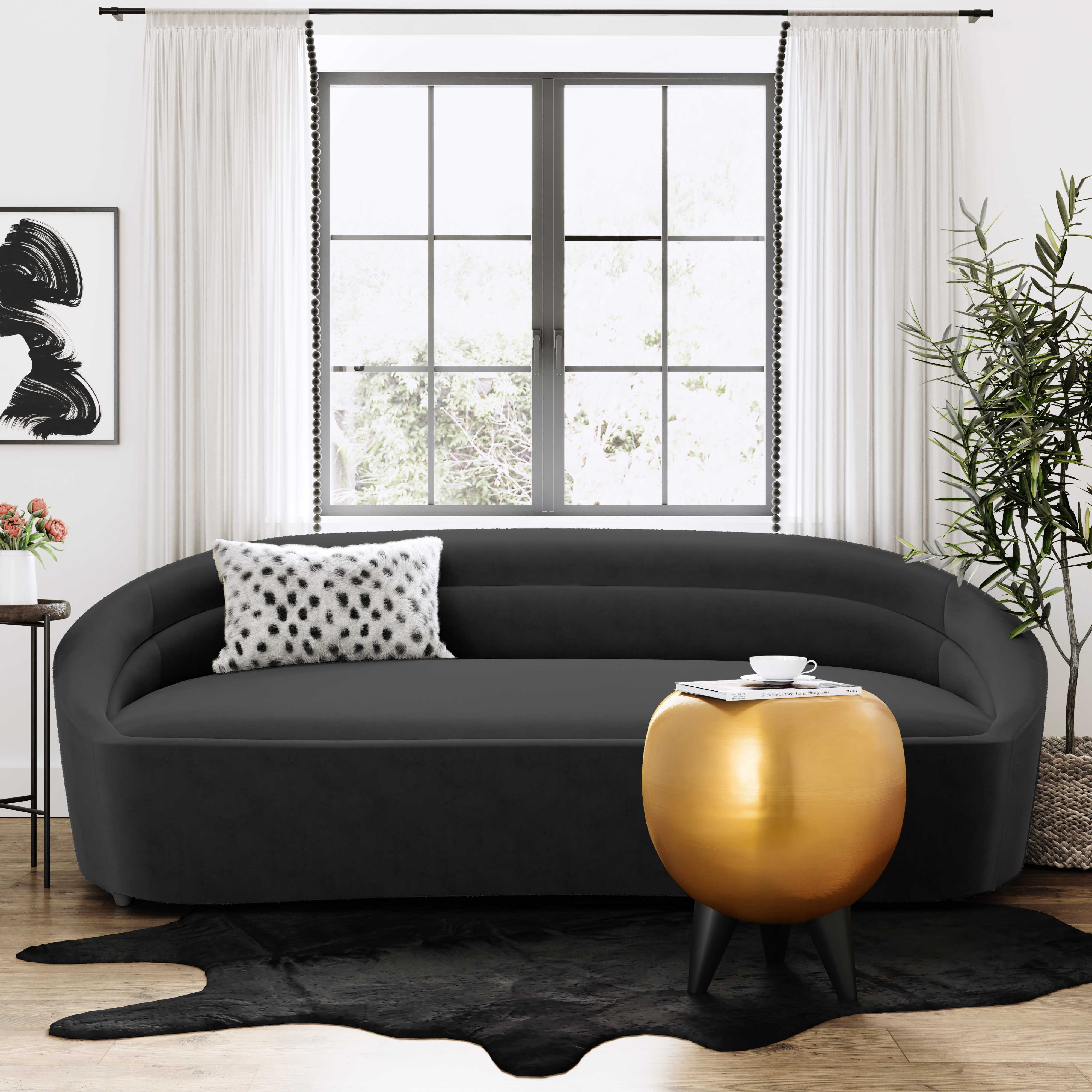 Ellison Black Velvet Sofa