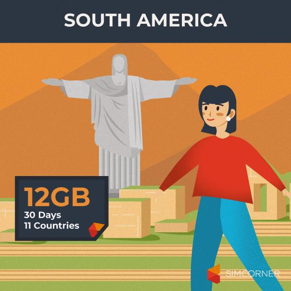 Simcorner - South America Sim Card(12GB)