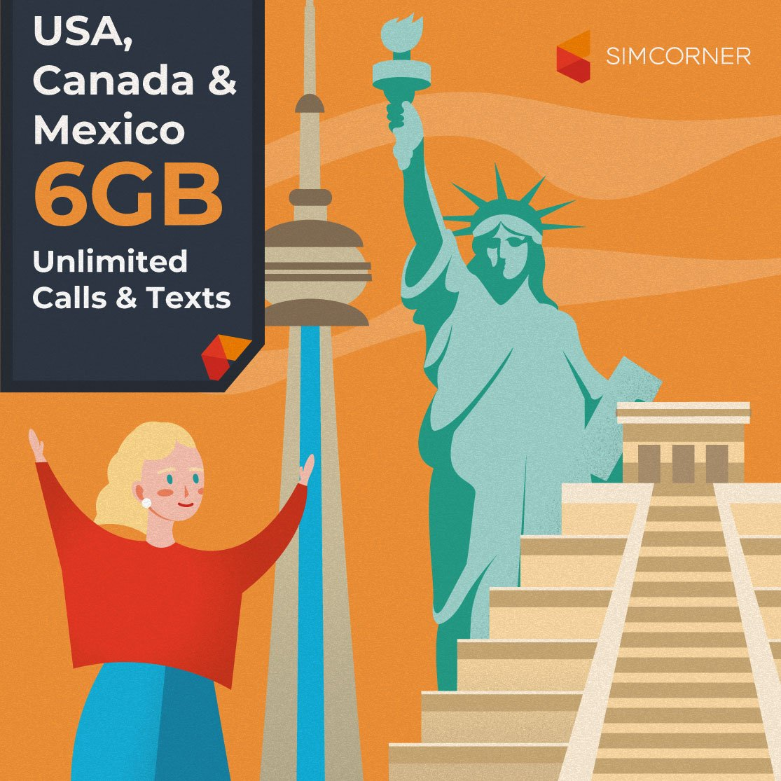 Simcorner - USA/Canada/Mexico 6GB Sim Card