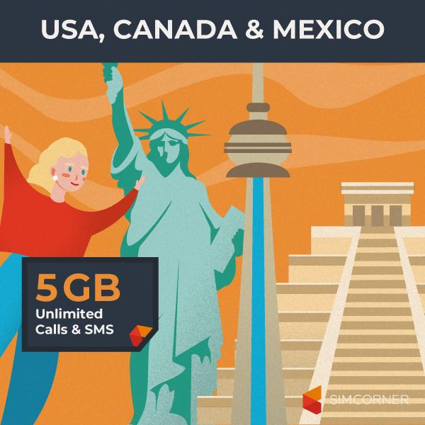 Simcorner - Sim Card for USA Canada Mexico (5GB)