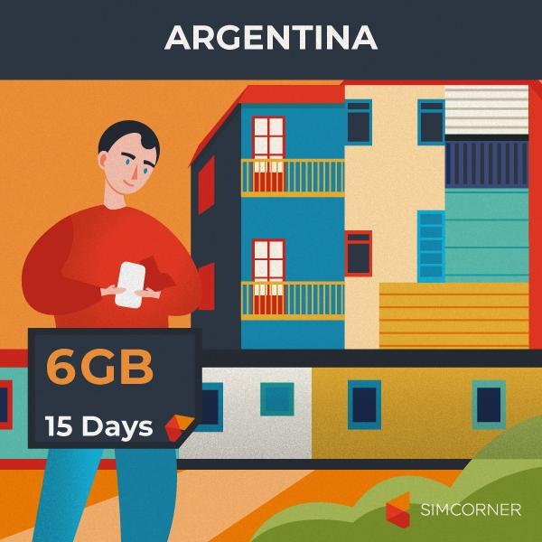 Simcorner - Argentina Data SIM Card (15 Day - 6GB)