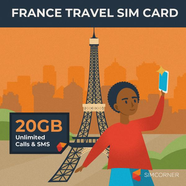 Simcorner - France Travel Sim Card (20GB)