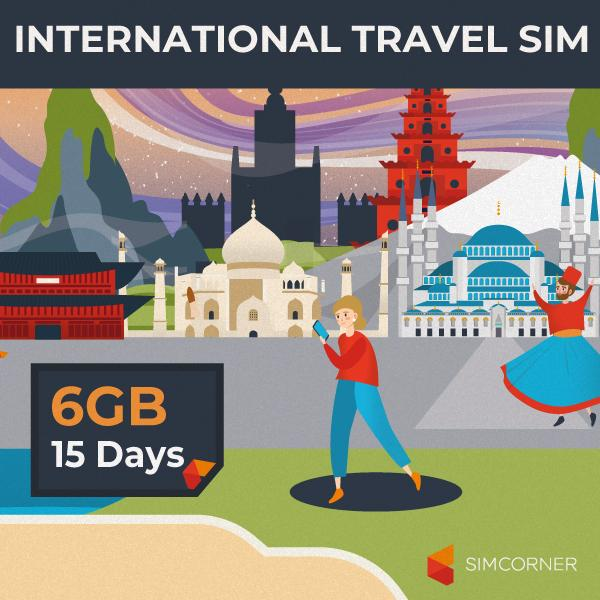 Simcorner - 15 Day International Data Sim Card (6GB)