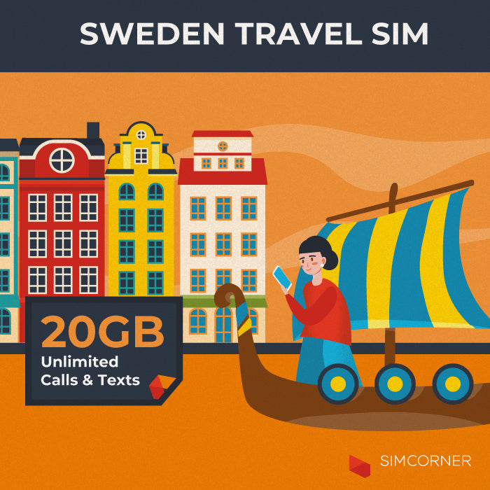 Simcorner - Sweden Travel Sim Card (20GB)