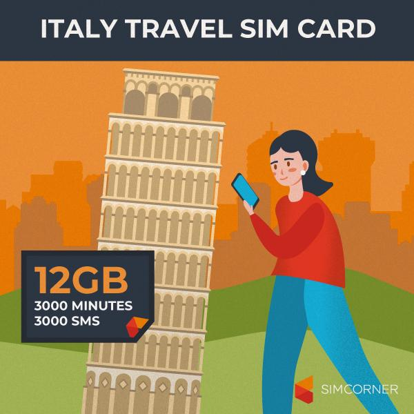 Simcorner - Italy Travel Sim Card (12GB)