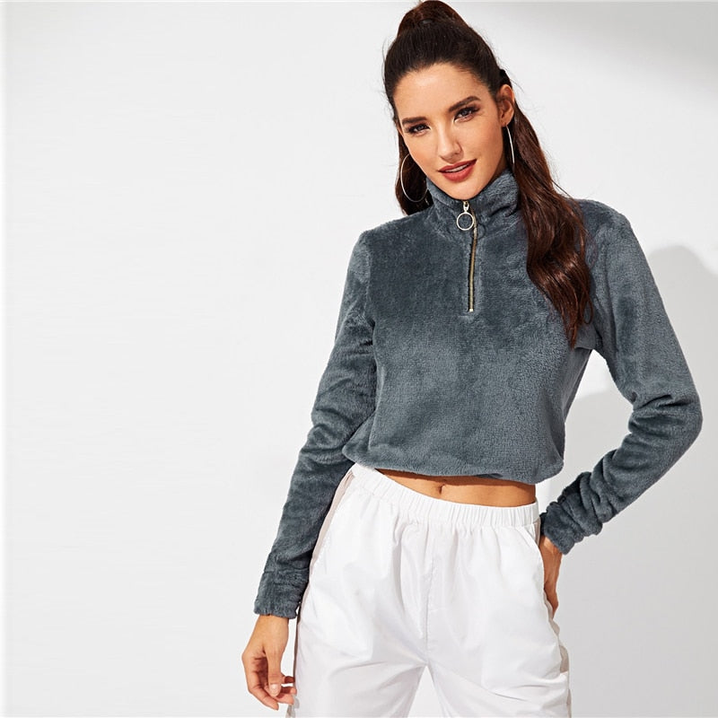 Crop Top Teddy Sweat Shirt