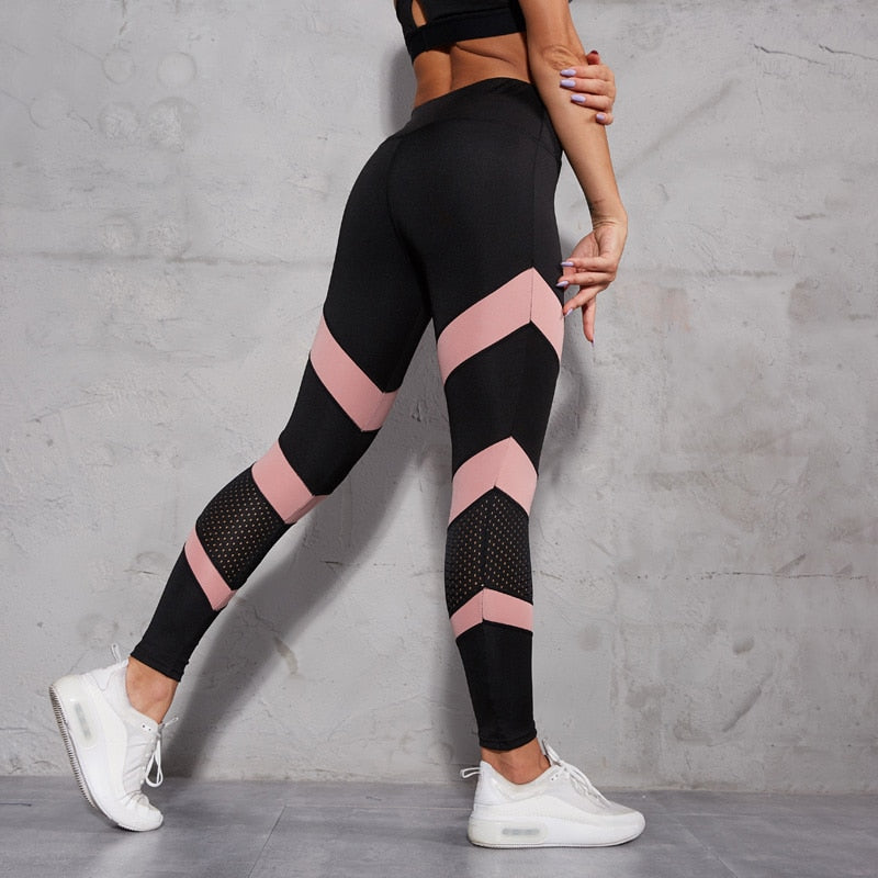 High Waist Pink Striped Leggings