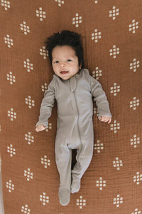 Grey Organic Cotton Ribbed Footed Zipper One-piece