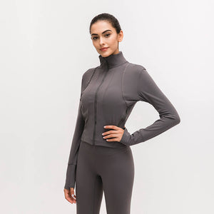 Long sleeve stand-up collar yoga jacket