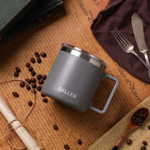 Stainless Steel Vacuum Insulated Coffee Mugs with Lids and Handle