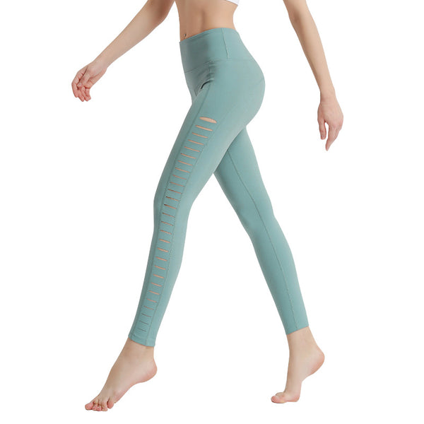 Sexy side cutout hip-lifting fitness running pants