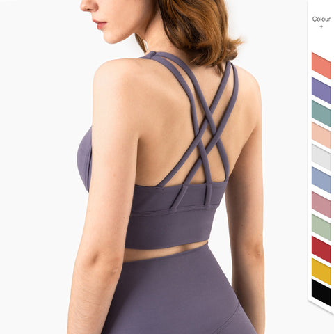 Buckleless yoga bra with double geometric cross straps