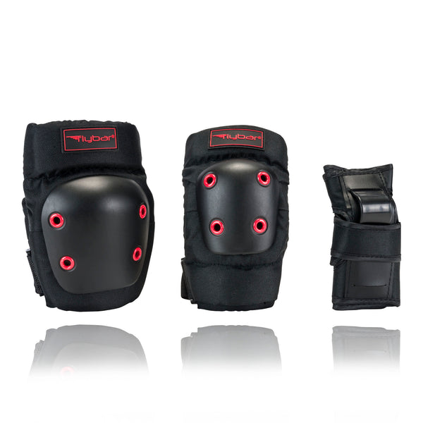 Flybar Knee Pads, Elbow Pads and Wrist Guards Protective Safety Gear Set - Multi Sport Protection For Skateboarding, BMX, Pogoing, Inline Skating, Scooter - Youth, Teen & Adult Sizes