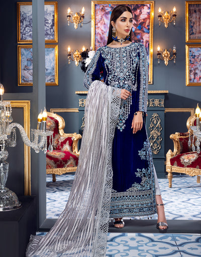 Emaan Adeel Royal blue MKH 2 Makhmal Luxury Velvet Edition