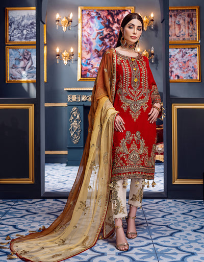 Emaan Adeel Luster red MKH 7 Makhmal Luxury Velvet Edition