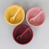 Silicone Suction Baby Bowl with Spoon (Merlot)