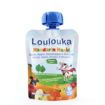 Loulouka Organic Mandarin Magic - Banana, Apple, Orange, Mandarin Baby Pouchy (90g) 6 months+