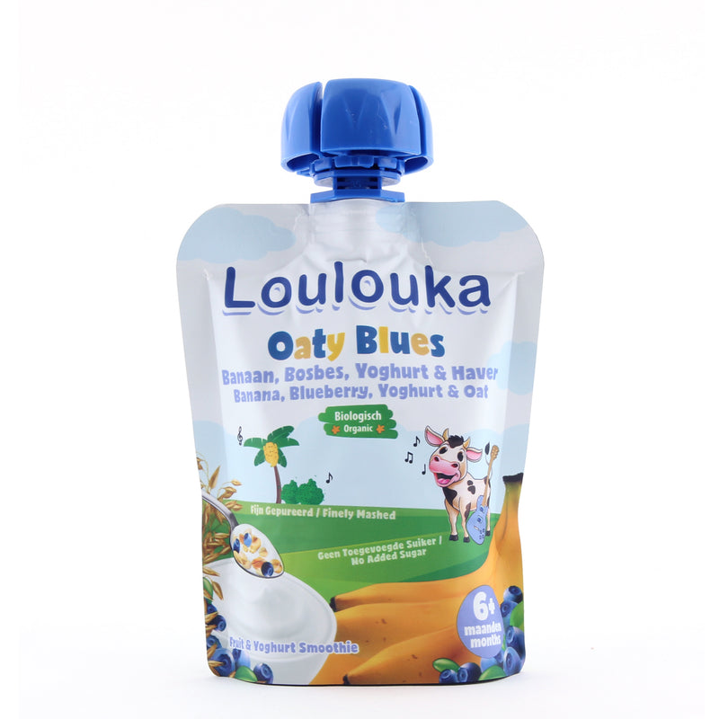 Loulouka Organic Oaty Blues - Banana, Blueberry, Yoghurt & Oat Baby Pouchy (90g) 6 months+