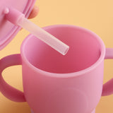 No Spill Sippy Silicone Cup with Straw (PURPLE)