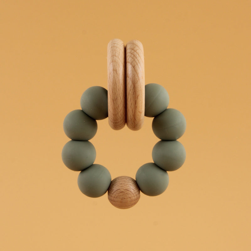 Silicone Sensory Teething Bracelet with Chewable Beads (SAGE)