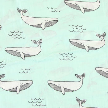 Muslin Baby Swaddle Blanket (Whale)
