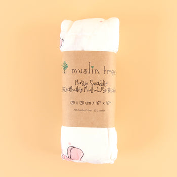 Muslin Baby Swaddle Blanket (WHITE PINK DOG)