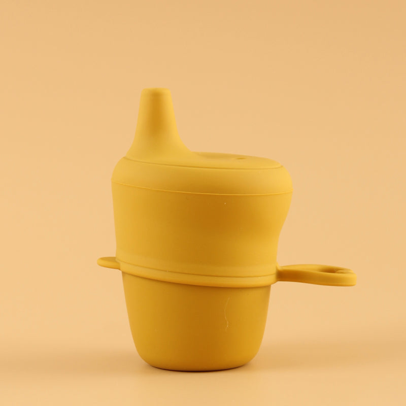 Silicone Cup with Sippy Lid (Mustard)