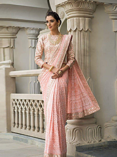 Pink Georgette Saree '17