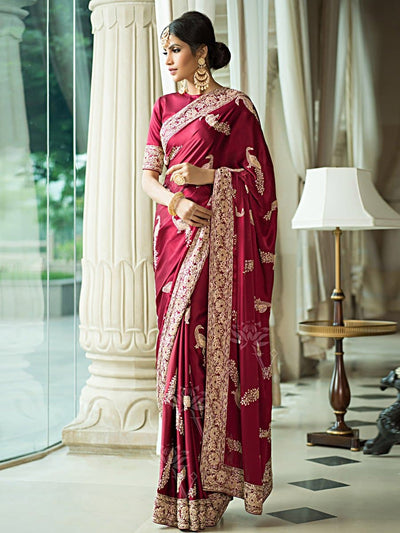 Wine Satin Saree '17