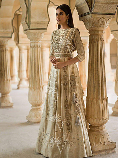 Off White Pure Tussar Lehenga - 2018