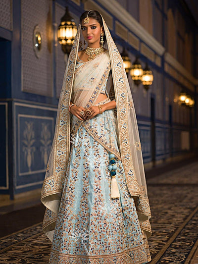 Denim Blue Raw Silk Lehenga Choli '17