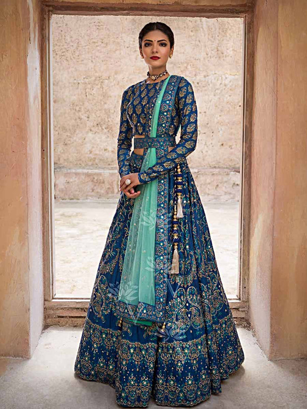 Blue Silk Pearl Brush Lehenga - 2018