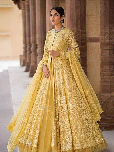 Yellow Net Indo Western Dress - 2018