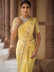 Yellow Pure Georgette Saree - 2018