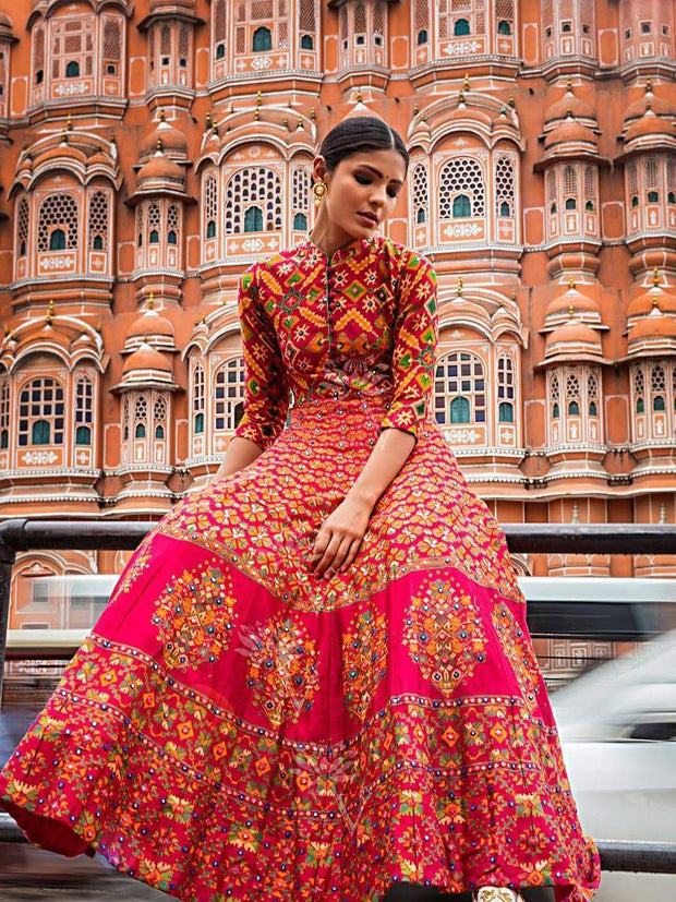 Red Silk Chanderi Anarkali Gown - 2018