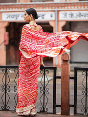 Real Zari Georgette Ghat Chola Saree - 2018