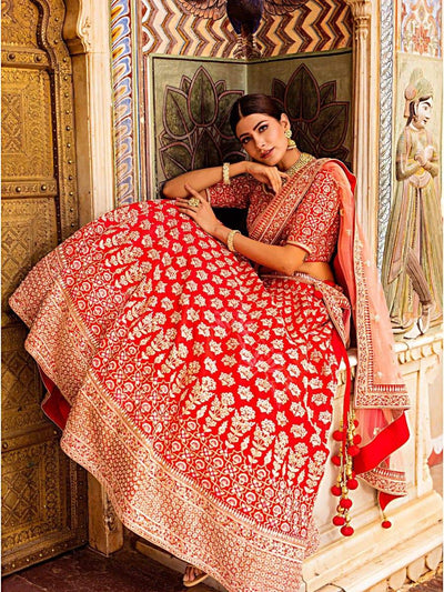 Red Raw Silk Bridal Lehenga - 2019