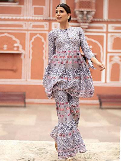 Grey Sharara Set - 2019