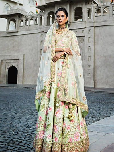 Green Raw Silk Lehenga Choli '17