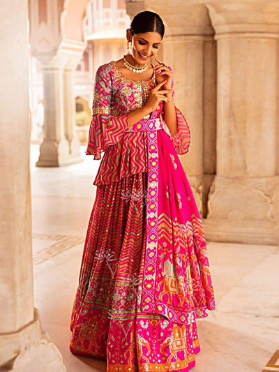 B2, DD60, Flares, Highlighted, lehariya, Lehenga, Lehenga set, Lehengas, Leheriya lehenga, Light weight, MTO, Patola, Printed, Silk, Traditional, Traditional Outfit, Traditional wear, Trendy, bestseller